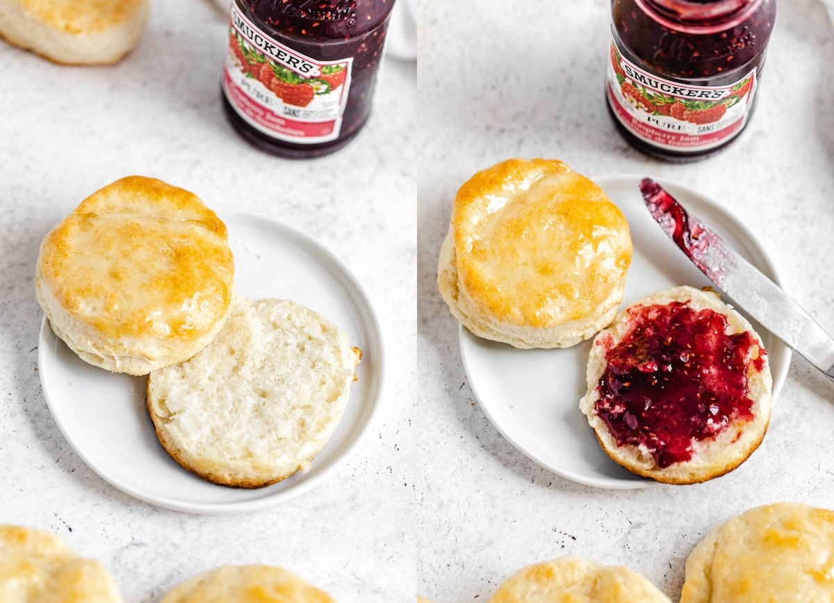 plain biscuit cut in half and raspberry jam spread on one side