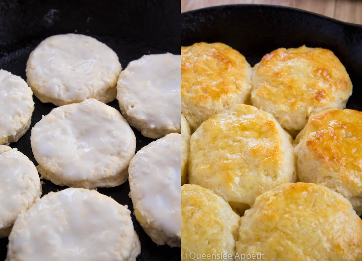 biscuits before baking and after baking