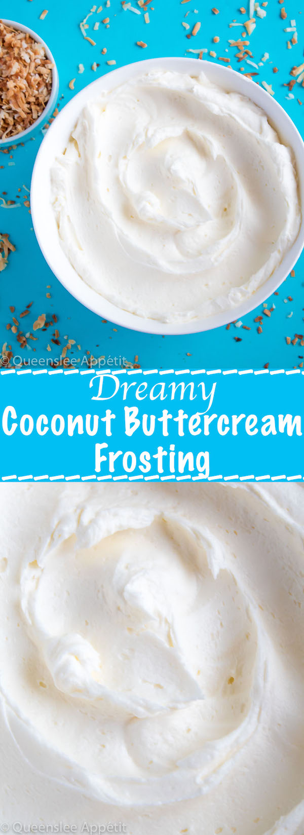 This Dreamy Coconut Buttercream Frosting is extremely light and creamy! It pairs perfectly with any flavour of cake or cupcakes, and if you replace the butter with vegan margarine, it'll be 100% dairy free!