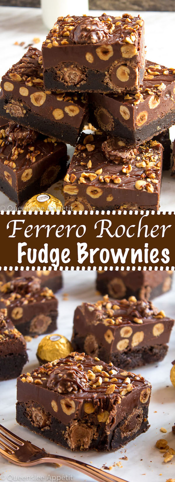 These Ferrero Rocher Fudge Brownies are the ultimate dessert bars! A Ferrero Rocher stuffed fudge brownie, topped with a creamy Nutella Fudge filled and topped with Ferrero Rochers and roasted hazelnuts. Take these bars to another level with a drizzle of silky Nutella Ganache and you've got the greatest brownie ever!