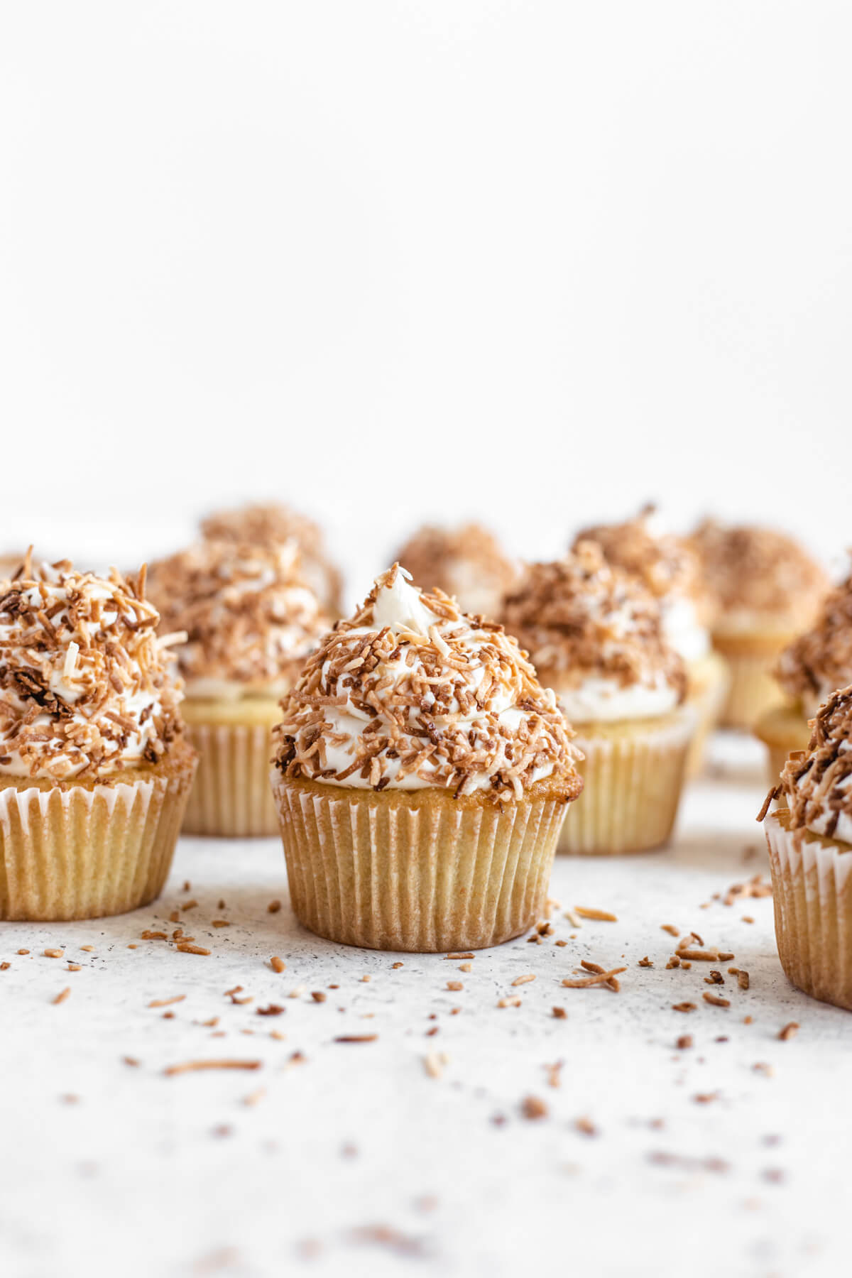 cupcakes topped with toasted coconut