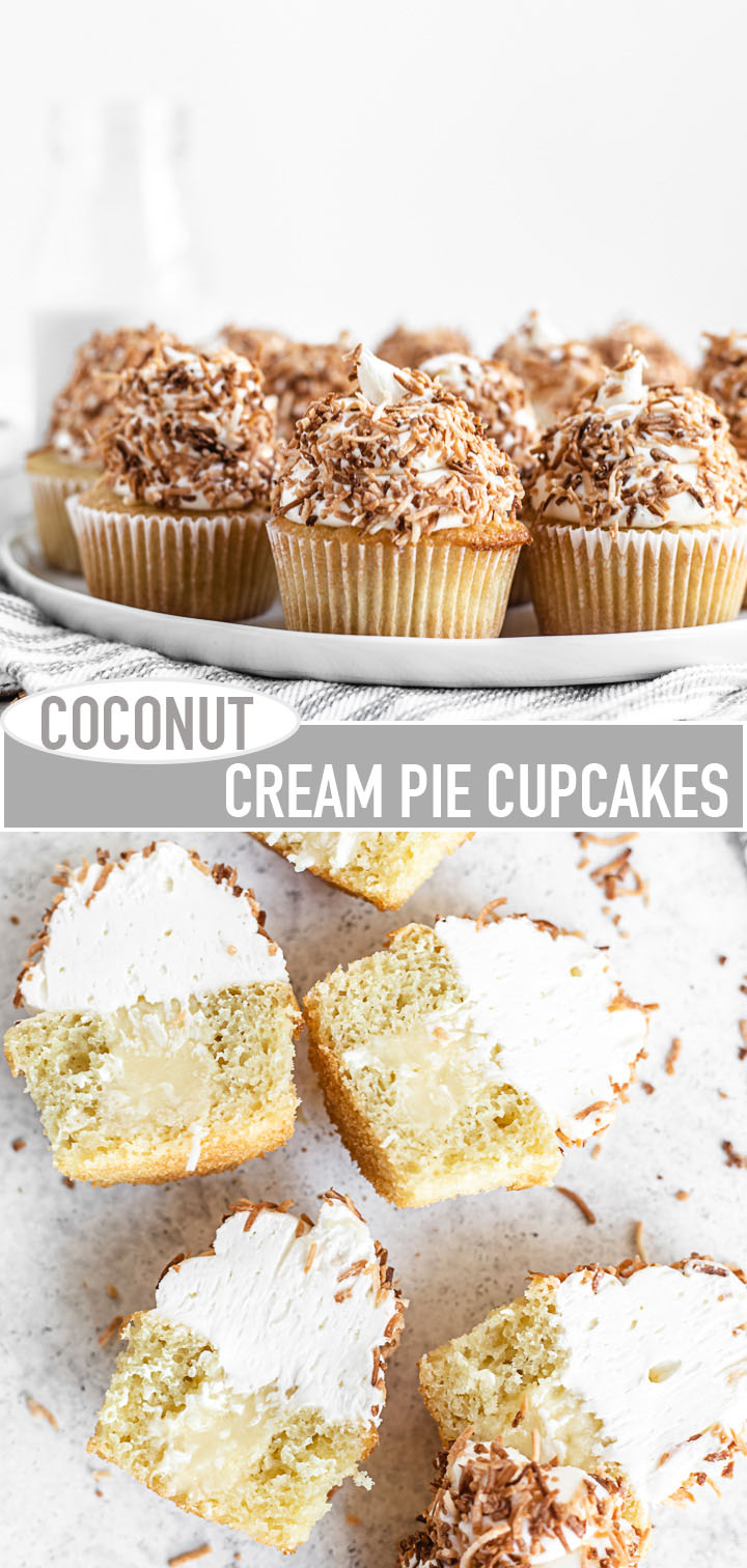 long pin image for coconut cupcakes