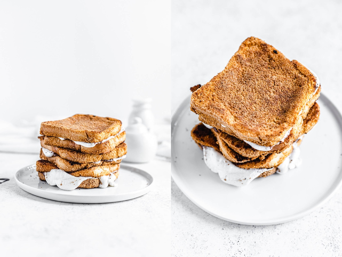stack of marshmallow stuffed graham cracker French toast
