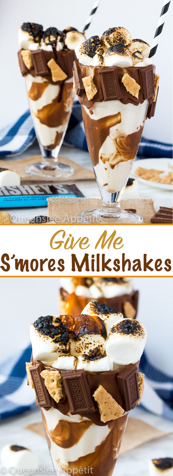 Give me S'mores Milkshake — milk chocolate and graham cracker decorated glass filled with a toasted marshmallow milkshake and topped with charredmarshmallows!