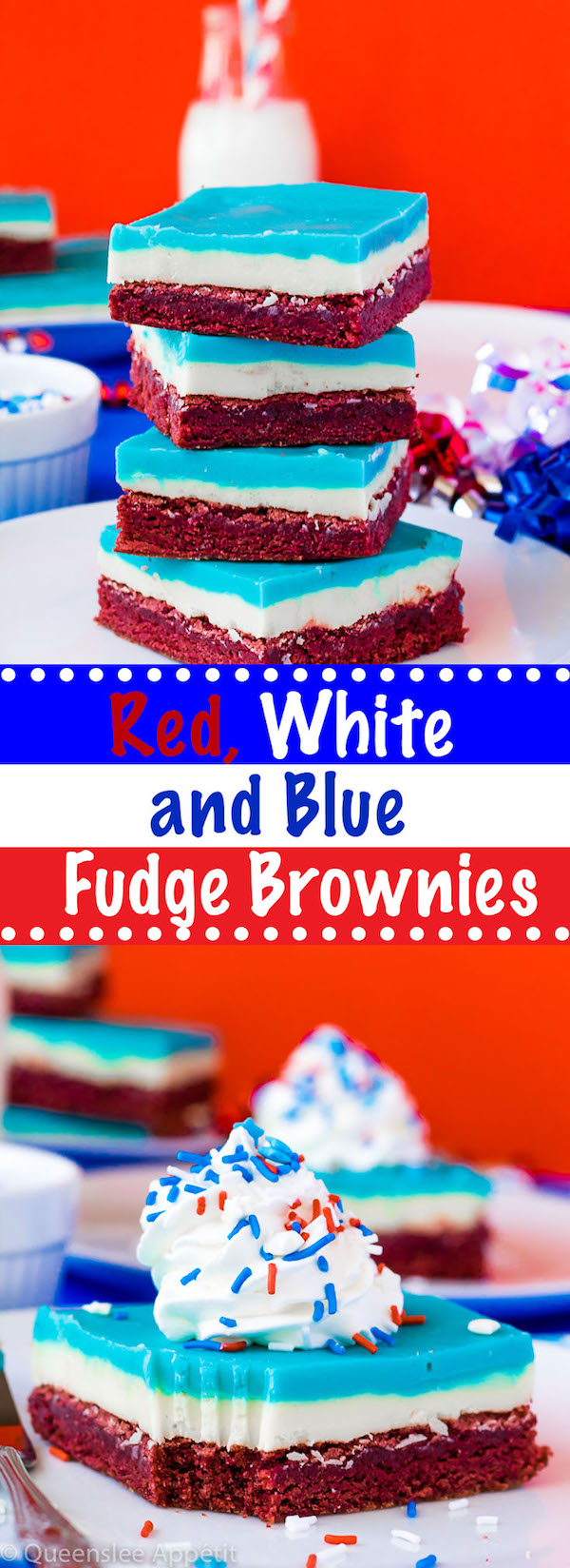 These Red, White and Blue Fudge Brownies are a delicious and fun dessert coloured for the 4th of July.