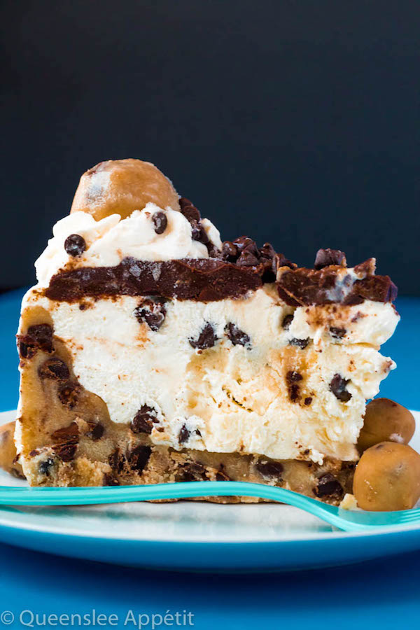 Chocolate Chip Cookie Dough Ice Cream Cake — vanilla ice cream mixed with chocolate chips and edible cookie dough encased in a cookie dough crust and topped with ganache, whipped cream and more cookie dough!