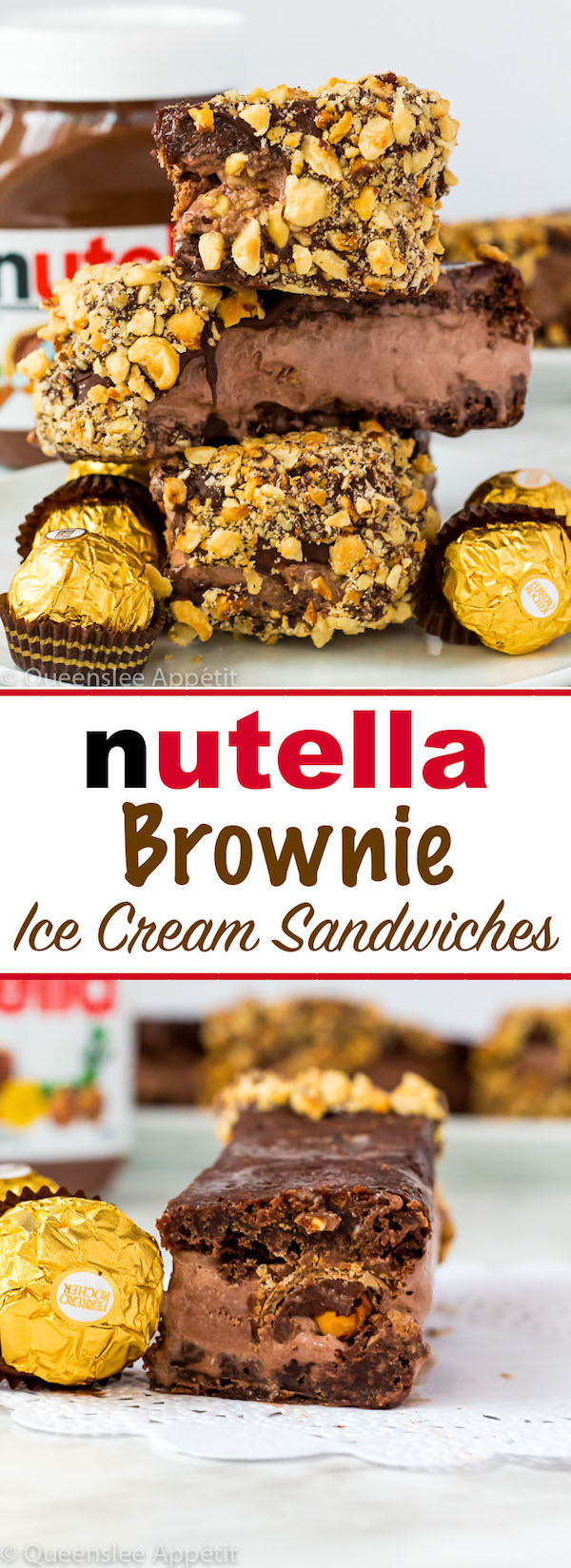 These Nutella Brownie Ice Cream Sandwiches feature Ferrero Rocher stuffed chocolate ice cream sandwiched between two fudgy Nutella brownies. These lovelies are taken to the next level with a chocolate/hazelnut coating! A fun treat for the summertime!