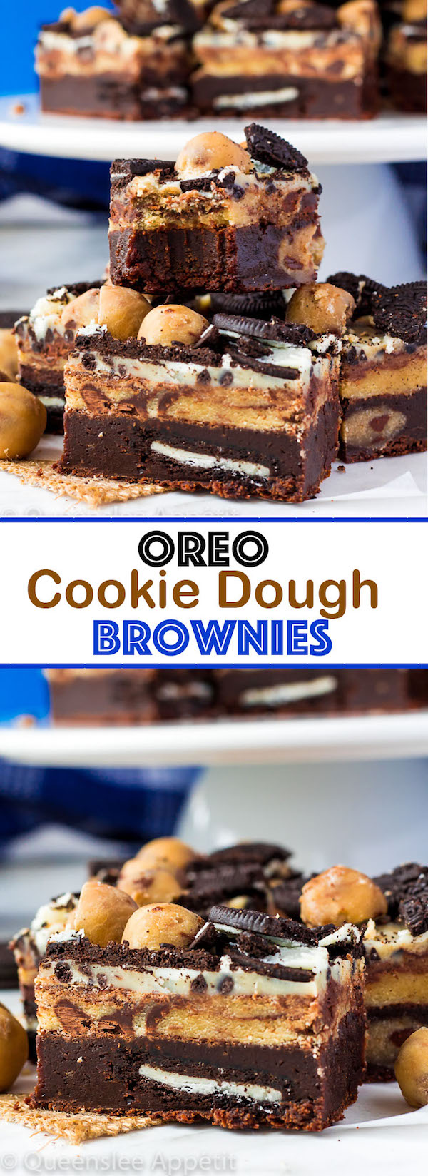 These Oreo Cookie Dough Brownies are the most deliciously decadent and rich little bars!