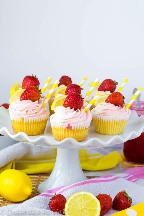 These Strawberry Lemon Cupcakes start with a moist, light and fluffy lemon cupcake that's filled with homemade strawberry sauce and topped with fresh lemon and strawberry frosting.