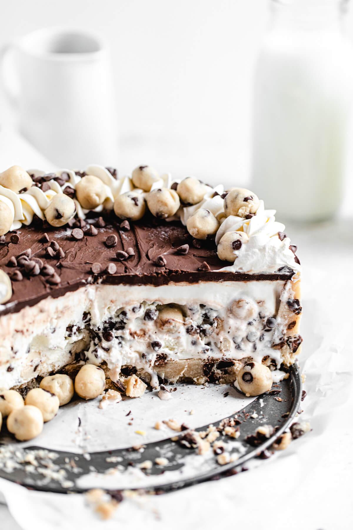 sliced ice cream cake on a platter