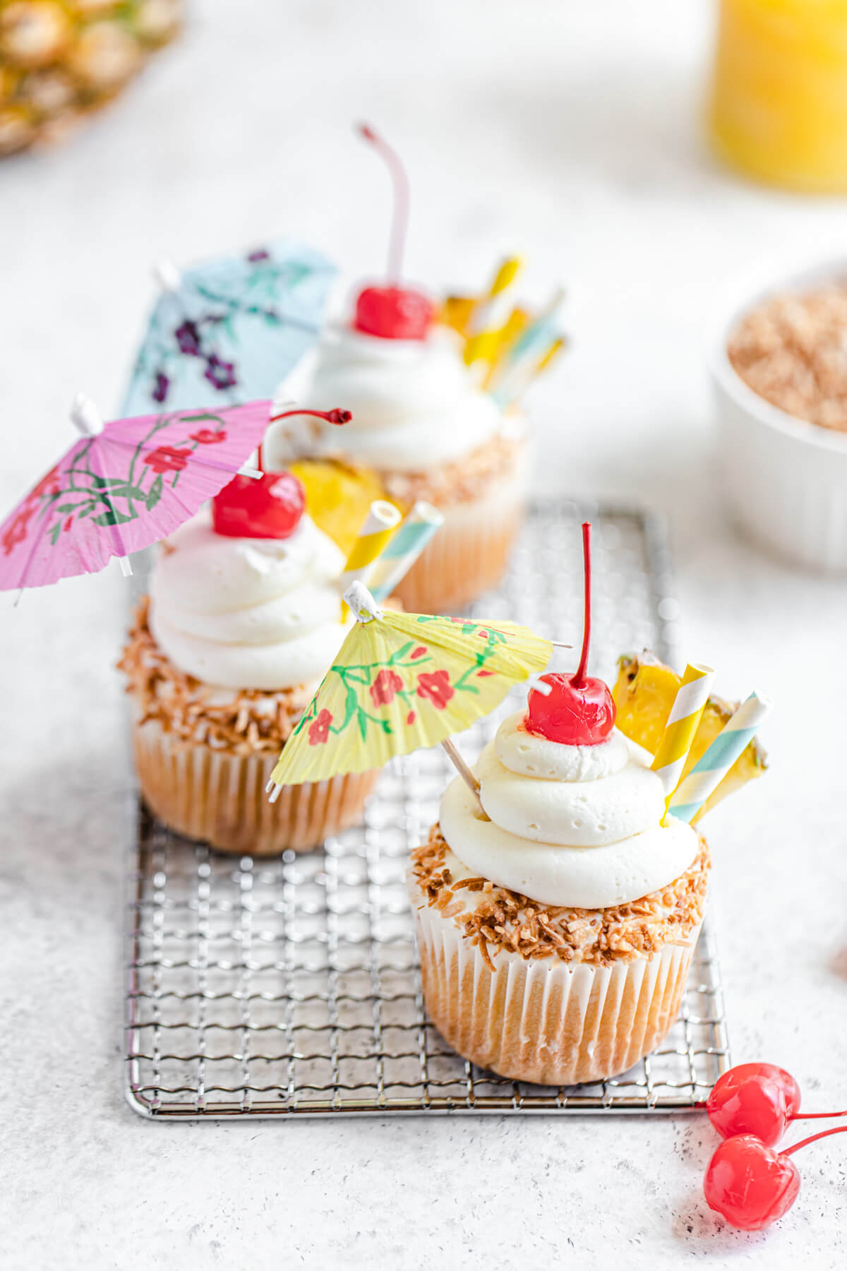 three cupcakes on a safety grater