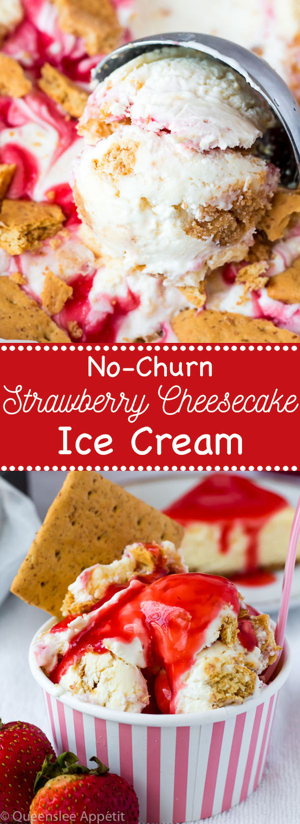 This No-Churn Strawberry Cheesecake Ice Cream consists of a cheesecake flavoured ice cream base that's loaded with cheesecake and graham cracker pieces and a swirl of sweet homemade strawberry sauce. This simple and delicious dessert just screams summer!
