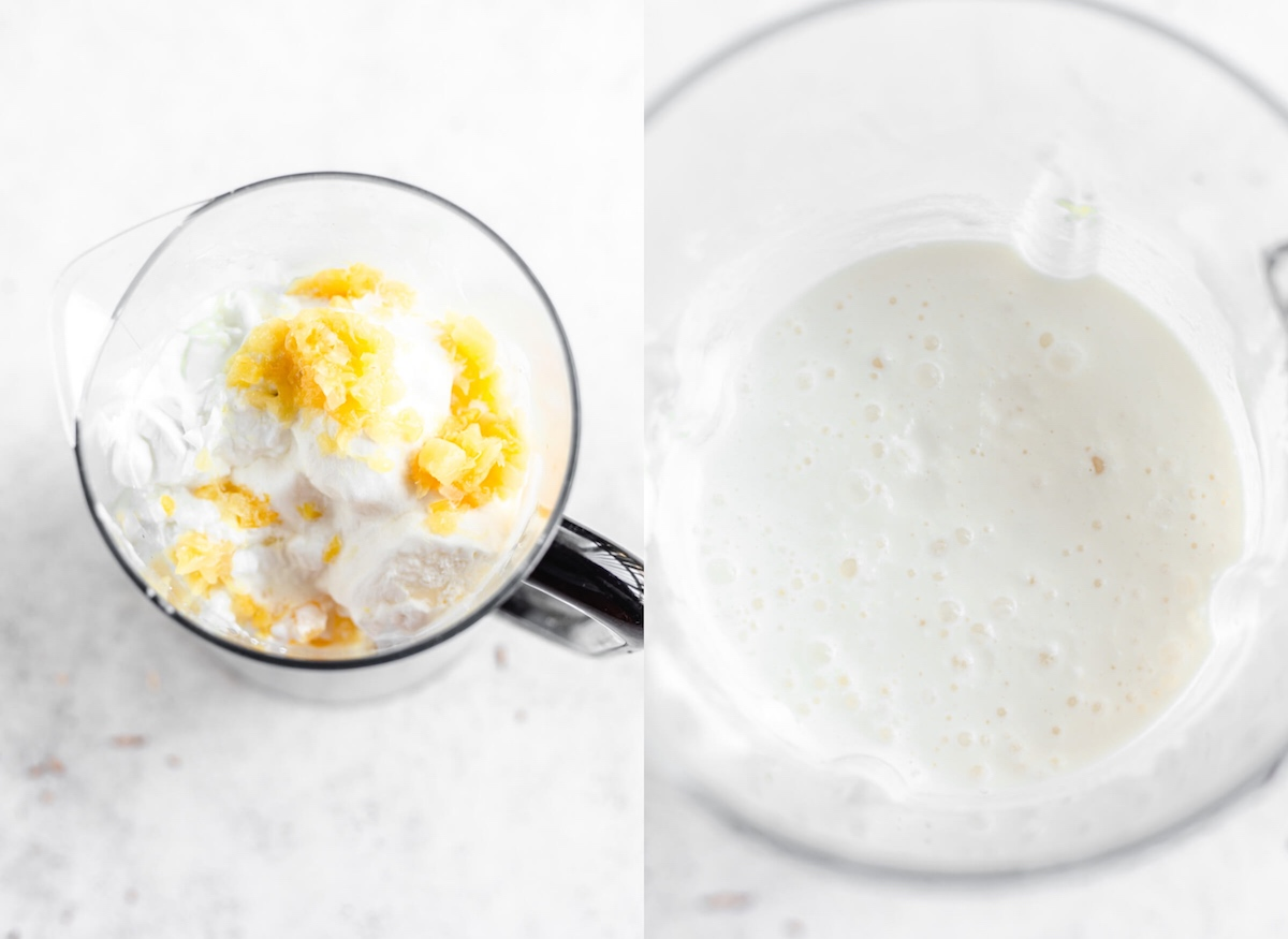 ice cream, pineapple chunks and coconut milk in a blender