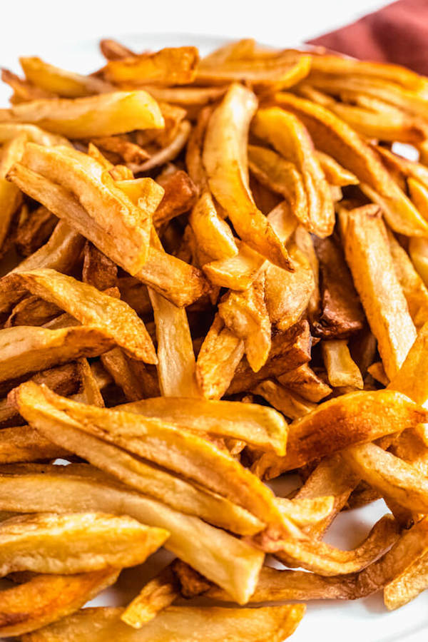 close up of homemade French fries