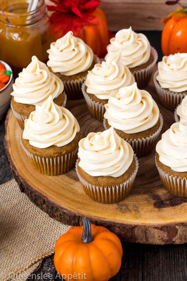 Pumpkin Cupcakes with Salted Caramel Cream Cheese Frosting
