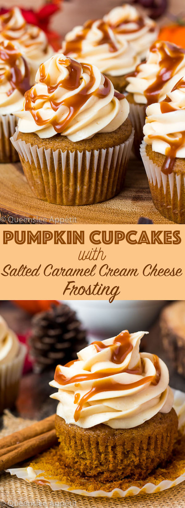 These Pumpkin Cupcakes are made with a moist pumpkin cupcake filled with salted caramel sauce and topped with a delicious Salted Caramel Cream Cheese Frosting. A perfect and fun dessert for the fall season!