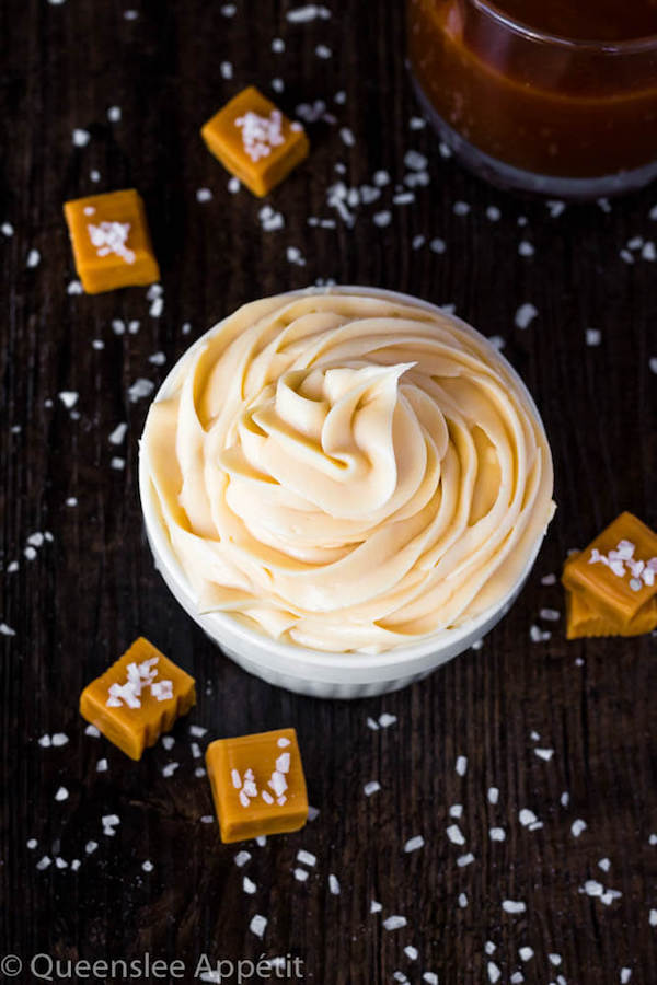 This Salted Caramel Cream Cheese Frosting is the best cream cheese frosting with sweet salted caramel flavour! This frosting is the perfect compliment for most flavours of cakes, cupcakes and many more desserts!