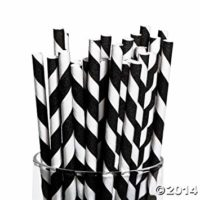 Fun Express Black Paper Striped Straws - 24 Pieces