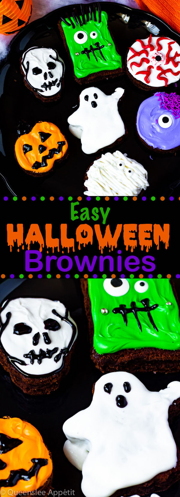 These Halloween Brownies are an easy, fun and festive treat. Serve these spooky sweets at a Halloween party, class party or wrap them up individually and hand out to friends and neighbours!