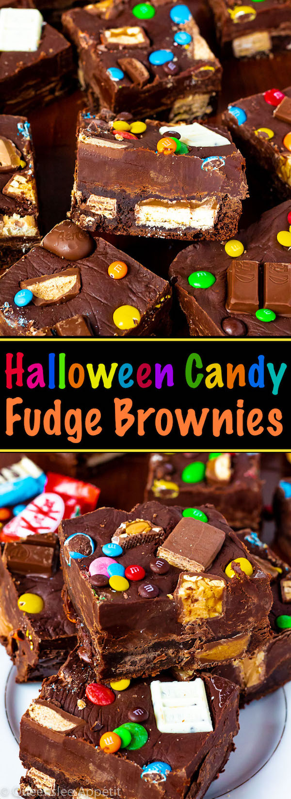 These Halloween Candy Fudge Brownies are a fun and delicious treat to make when you have leftover Halloween candy sitting around.