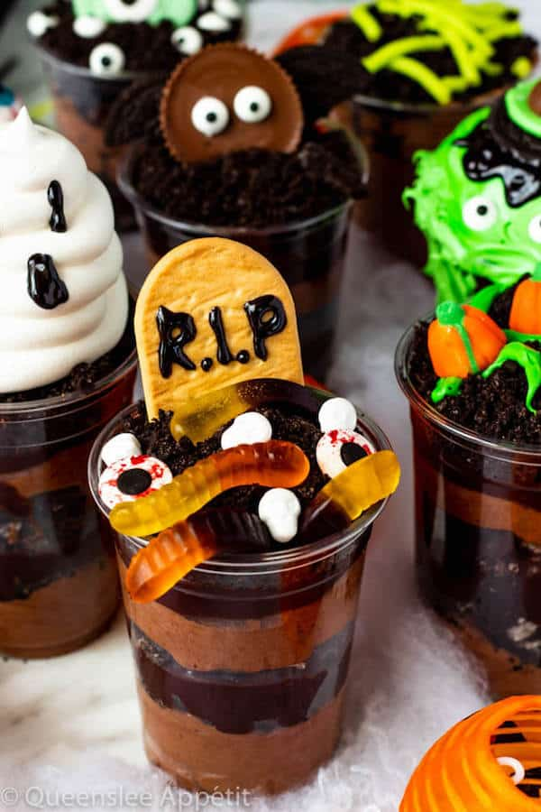 These Halloween Dirt Cups are simple and perfect treats to serve at a Halloween party. They're super fun and easy enough to make with kids!