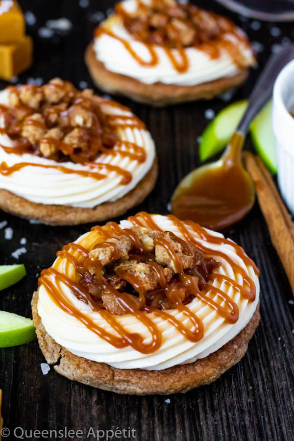 Salted Caramel Apple Crisp Cookie Sandwiches