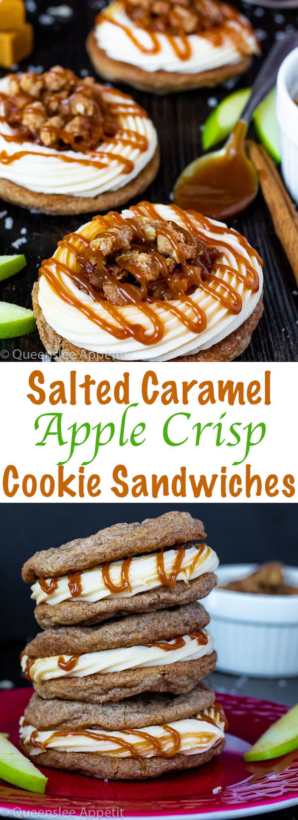 These Salted Caramel Apple Crisp Cookie Sandwiches are filled with a smooth and creamy salted caramel cream cheese frosting, homemade apple filling, crunchy oat crumble and drizzled with salted caramel sauce. And all of this deliciousness is sandwiched in between two soft and chewy cinnamon cookies!