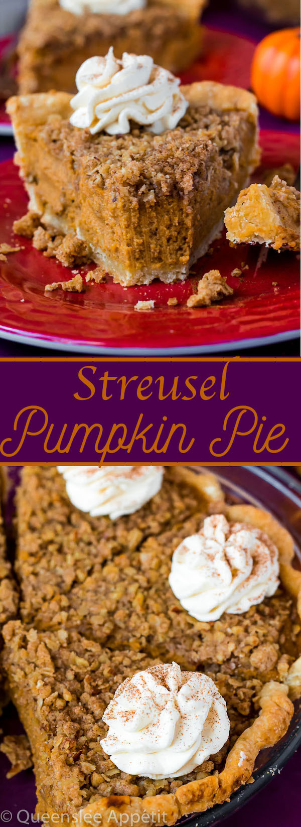Introducing my new obsession: Streusel Pumpkin Pie! Smooth, rich and flavourful pumpkin filling sits inside a buttery, flakey homemade pie crust and is topped with a crunchy pecan streusel topping. This is the perfect dessert to serve for Thanksgiving!