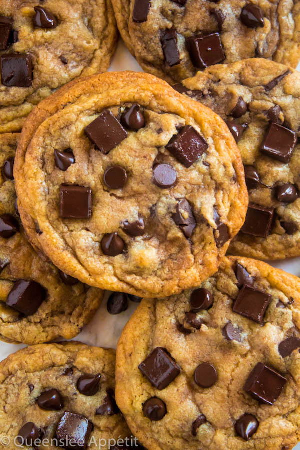 These cookies are the absolute best! They're incredibly soft, chewy and delicious - and best of all they're loaded, I mean LOADED with chocolate chips AND chocolate chunks! The perfect chocolate chip cookie.