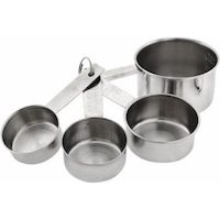 HIC Measuring Cups Set, Engraved Measurements for Liquid Dry and Ingredients, Stainless Steel, 4-Piece Set