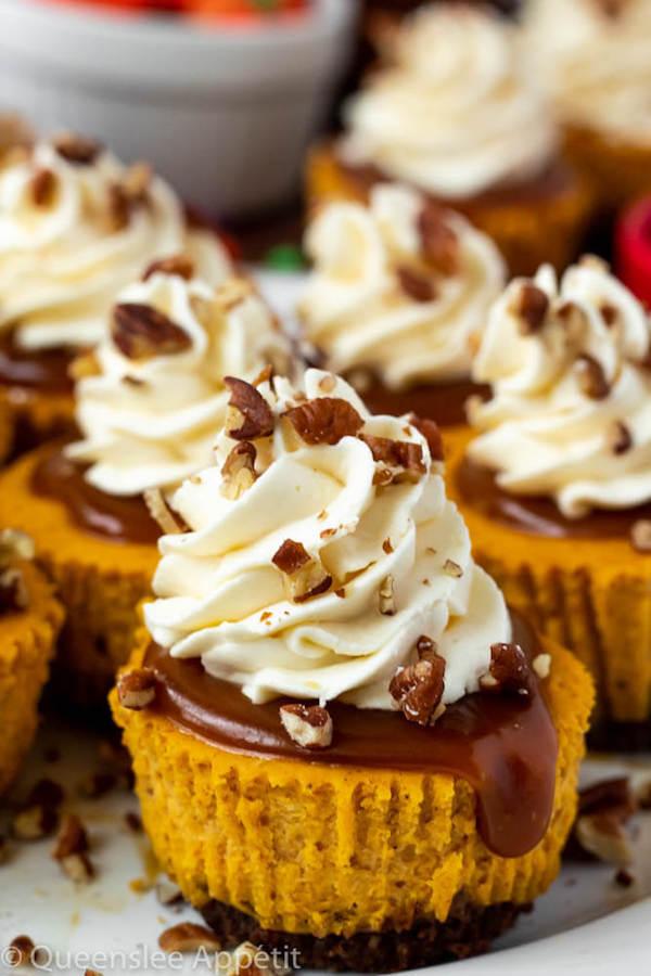 Mini Pumpkin Cheesecakes with Cream Cheese Whipped Cream