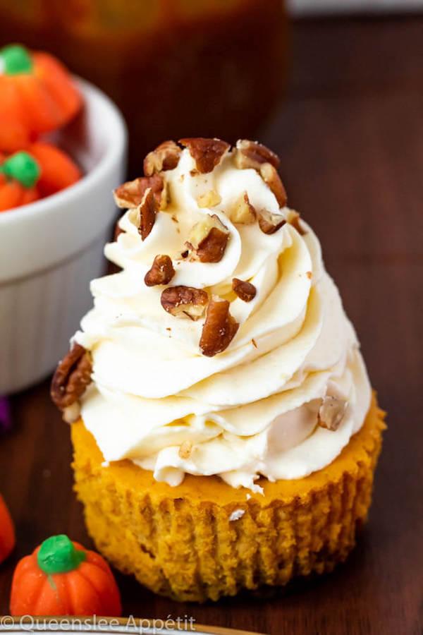 Mini Pumpkin Cheesecakes with and Cream Cheese Whipped Cream