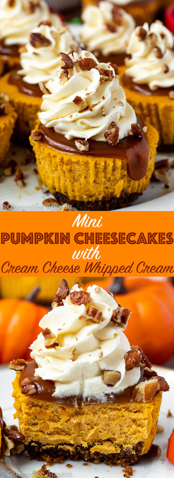An easy recipe for Mini Pumpkin Cheesecakes, featuring a spiced gingersnap pecan crust and a smooth and creamy pumpkin cheesecake filling. Top these bite sized treats off with salted caramel sauce, cream cheese whipped cream and chopped pecans and you have the perfect Thanksgiving dessert!