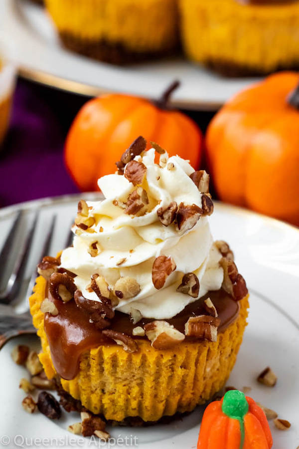 Mini Pumpkin Cheesecakes with Salted Caramel Sauce and Cream Cheese Whipped Cream