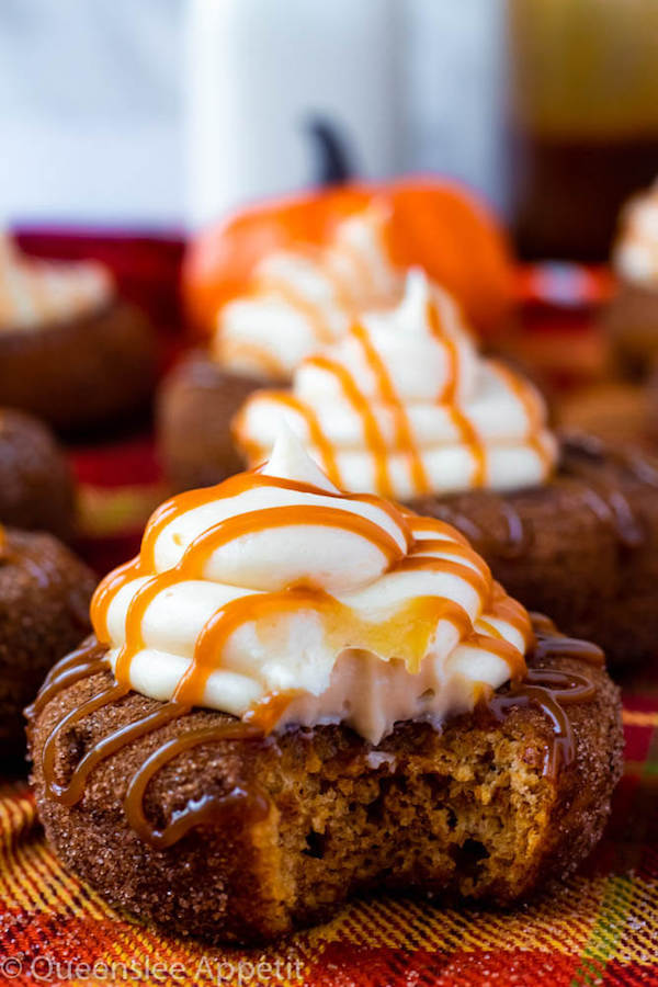 Pumpkin Donuts with Salted Caramel Cream Cheese Frosting