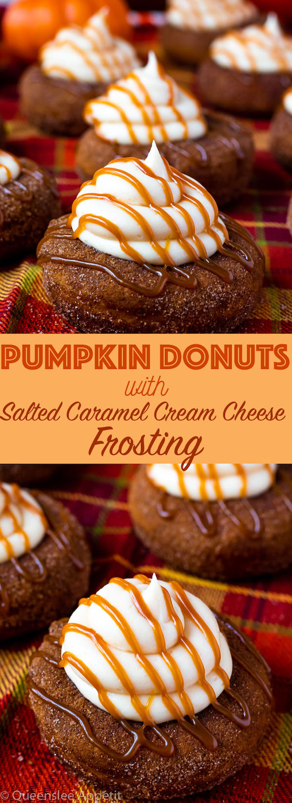 These moist Pumpkin Donuts are topped with a silky sweet and slightly tangy Salted Caramel Cream Cheese Frosting! They're super light and fluffy and full of pumpkin and fall spice flavours.