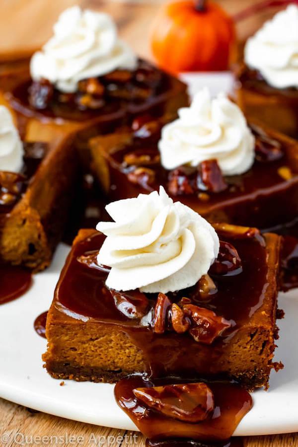 Pumpkin Pie Bars with Maple Pecan Praline Sauce