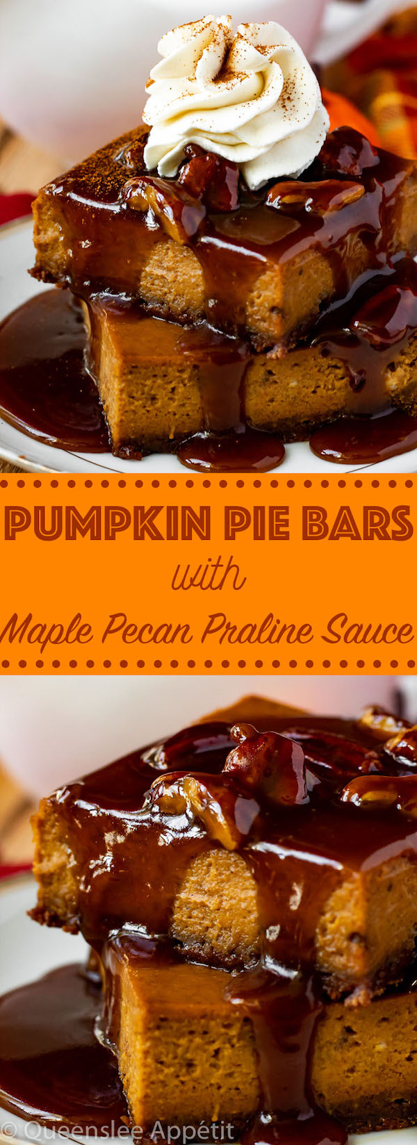 These Pumpkin Pie Bars have a spiced gingersnap crust and are topped with an irresistible Maple Pecan Praline Sauce! These bars are simple, delicious and a perfect dessert for Thanksgiving!