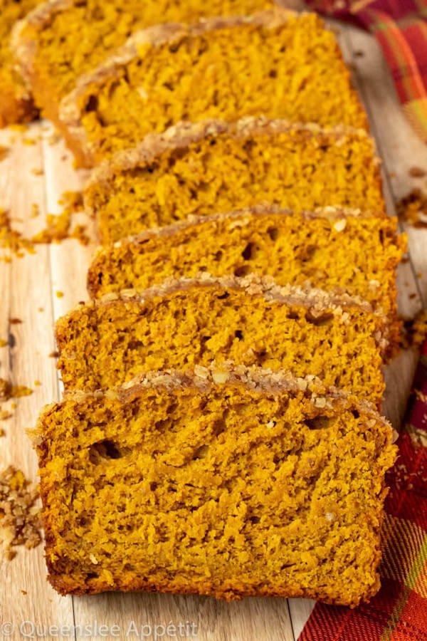 This Pumpkin Streusel Bread is super moist, fluffy and topped with a crunchy streusel topping!