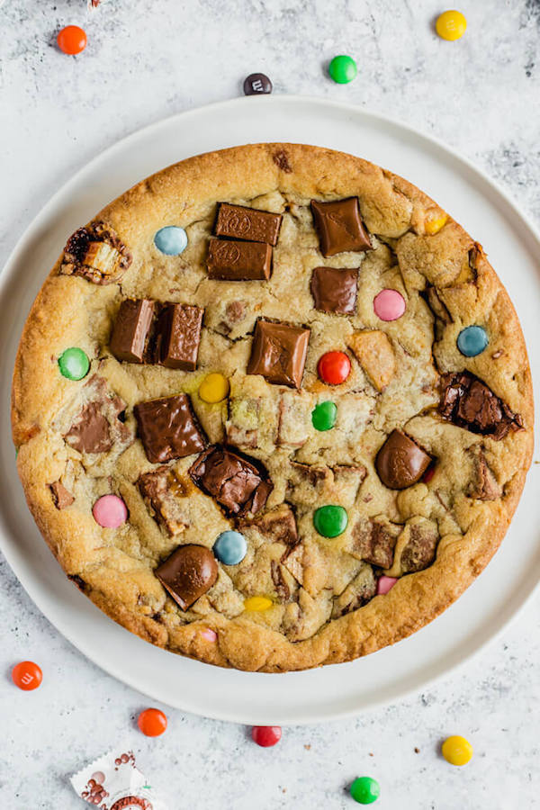 cookie cake loaded with halloween candy