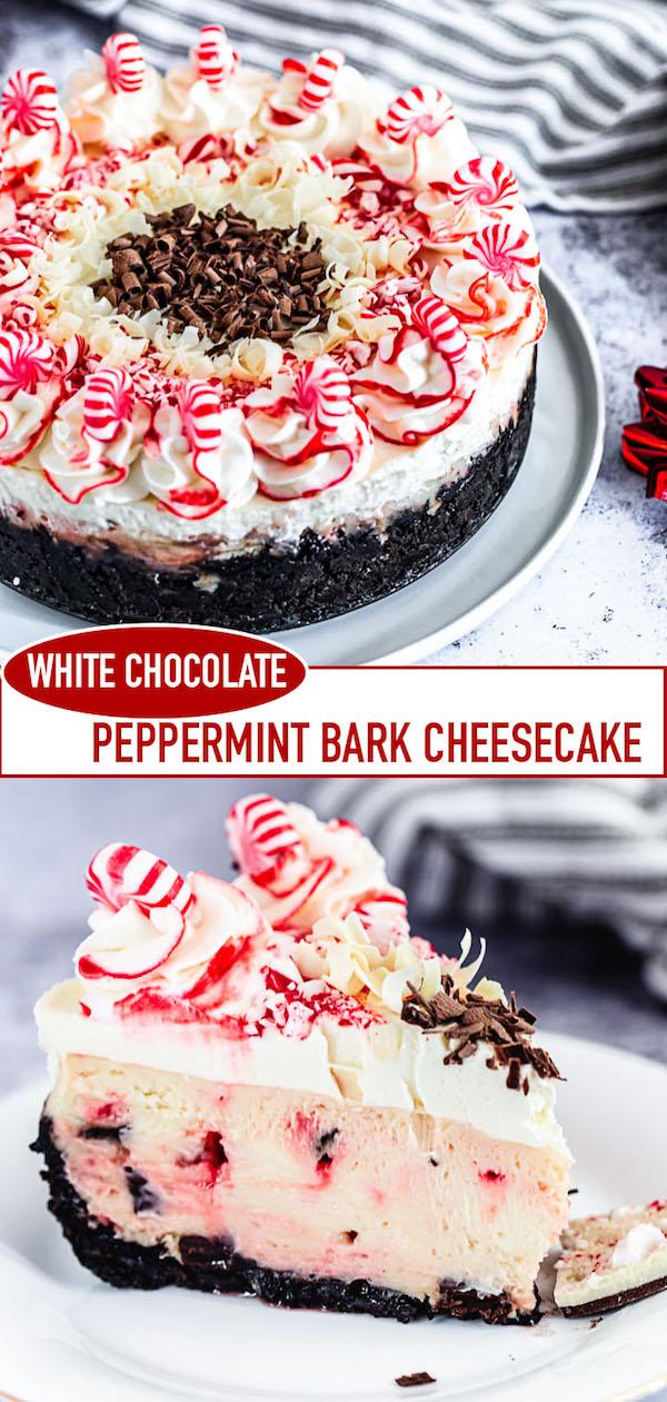 white chocolate candy cane cheesecake long Pinterest image