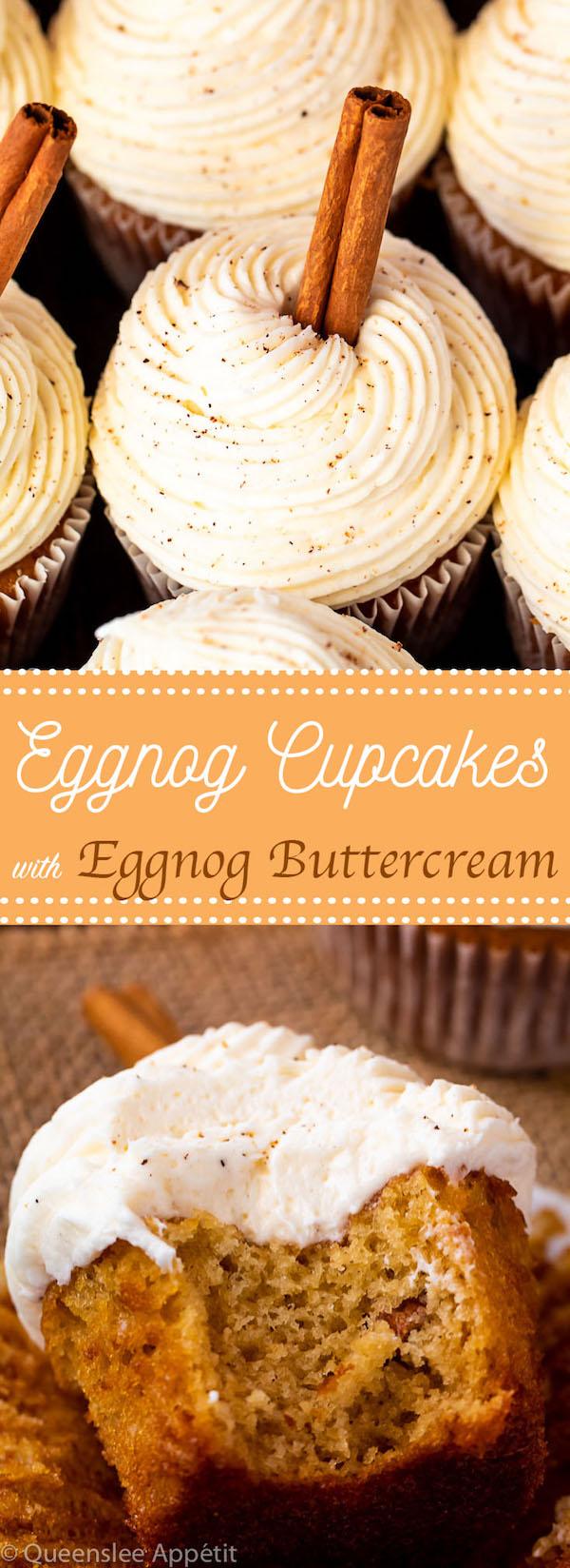Eggnog Cupcakes with Eggnog Buttercream