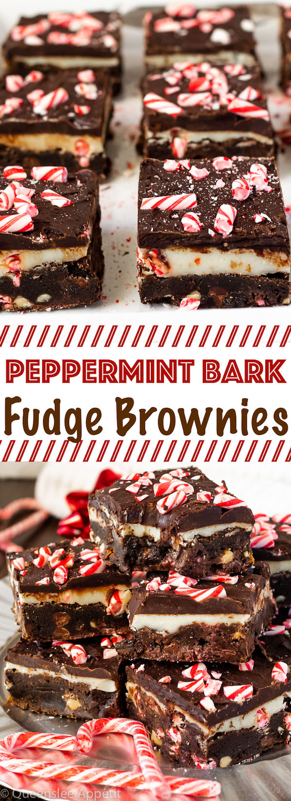 These Peppermint Bark Fudge Brownies start with a super fudgy and decadent peppermint brownie that's stuffed with white and dark chocolate chips and crushed candy canes. Top it off with a melt-in-your-mouth white and dark chocolate peppermint fudge for a fun and delicious Christmas treat!