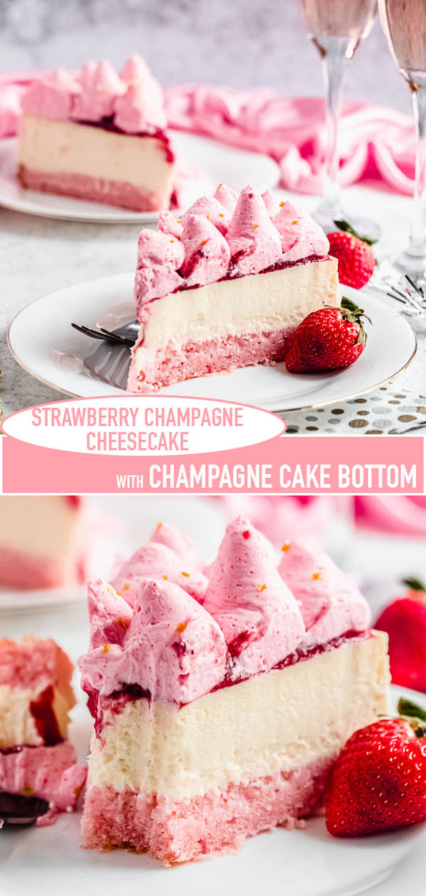 long pin image for champagne strawberry cheesecake