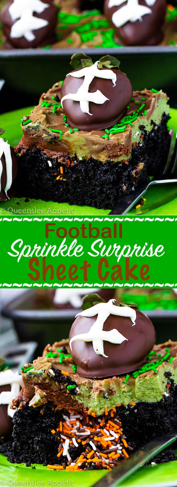 Football Surprise Sprinkle Sheet Cake