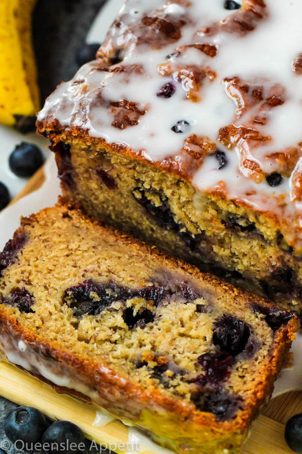 This Blueberry Banana Bread is soft, moist and fluffy and packed with fresh blueberries. Top it off with a sweet lemon glaze for a burst of citrus flavours!