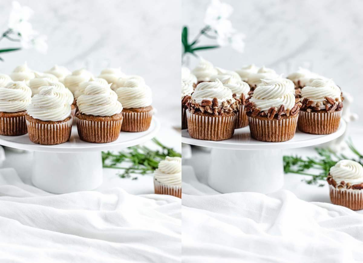 double photo collage of plain frosted cupcakes and frosted cupcakes with chopped pecans around edges