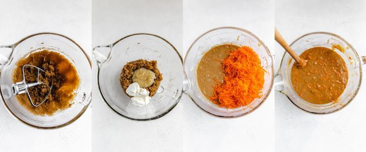 collage of four images showing how to make carrot cake batter