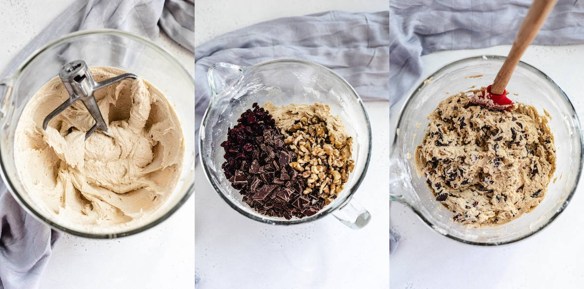 three photo collage of how to make cookie dough with chopped dark chocolate walnuts and dried cranberries