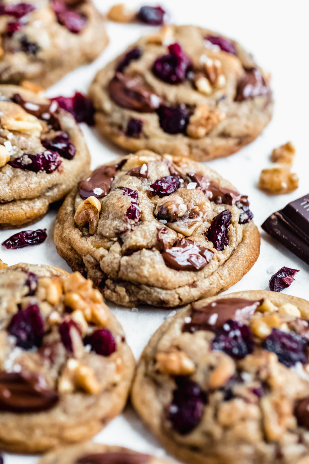 close up of cookies with cranberries, walnuts and dark chocolate
